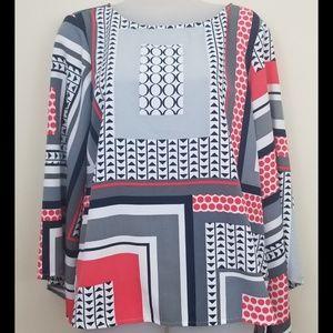 Ellen Tracy Geometric Kimono Sleeve Tunic, Size M